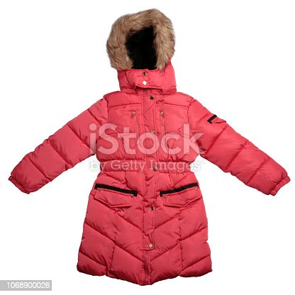 Children's  winter coat isolated on white background