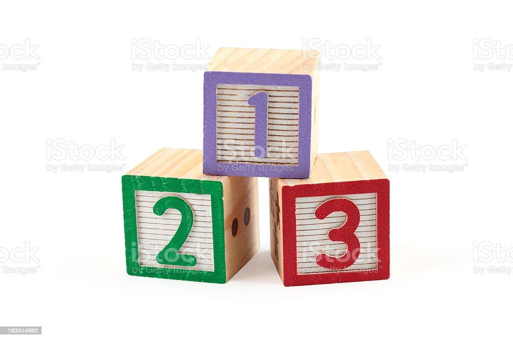 Children's wooden number blocks stock photo