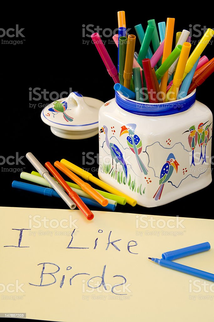 Children's writing with crayons royalty-free stock photo