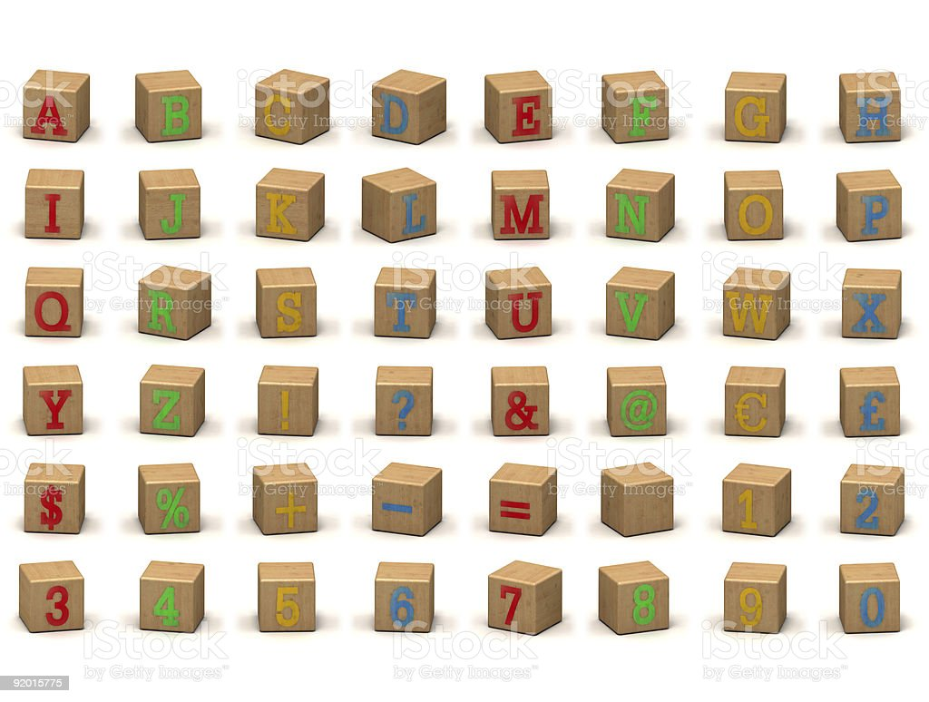 Child's alphabet building block set at various angles royalty-free stock photo