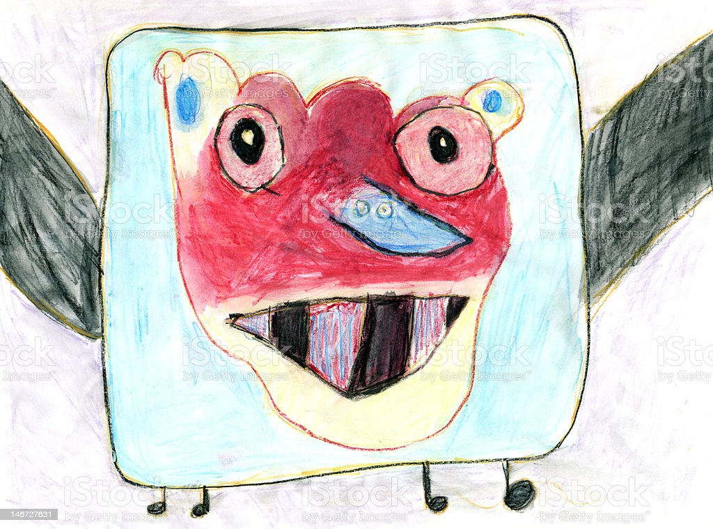 Child's Artwork - 'A funny monster on TV' stock photo