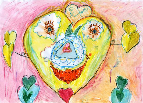 "child's grafik-""happy heart"" - naive malerei stock-fotos und bilder"