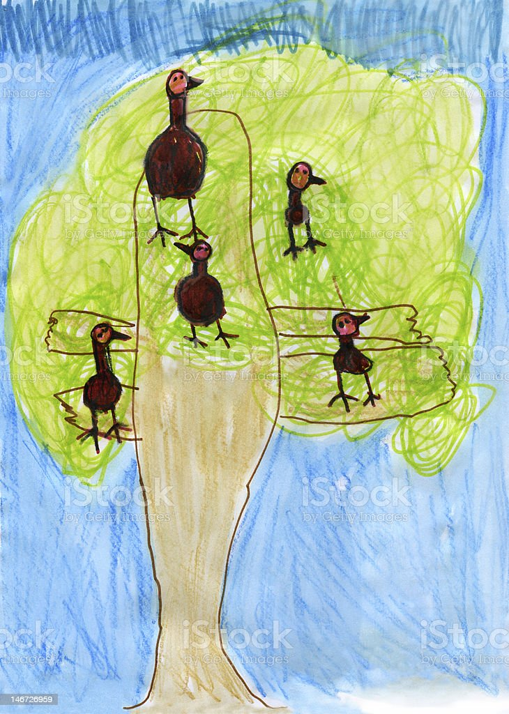 Child's Artwork - 'Tree with birds' royalty-free stock photo