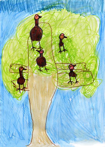 """child's artwork - """"tree with birds"""" - animal doodle bildbanksfoton och bilder"""