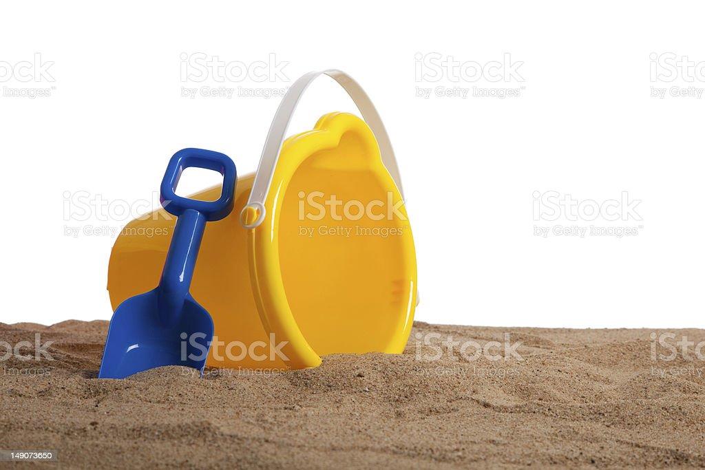Child's beach pail on a white background stock photo