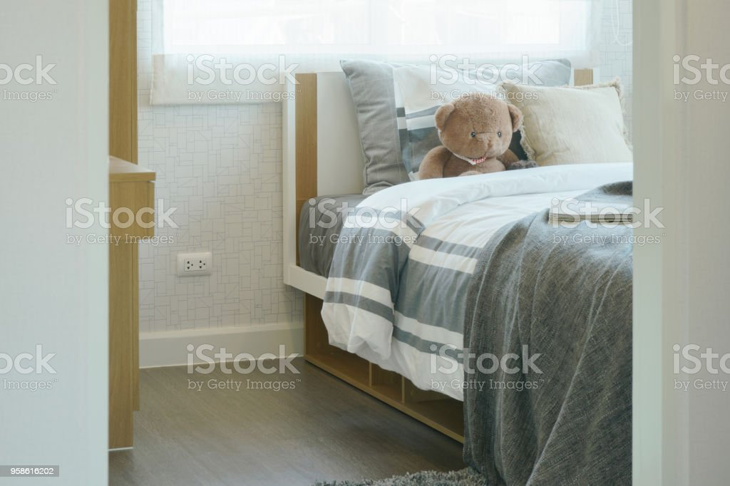 Child S Bedroom Interior With Brown Teddy Bear On Bed Stock Images Page Everypixel
