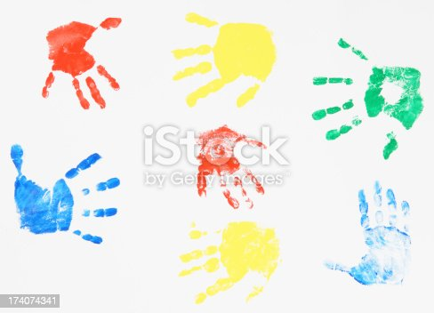 istock Child's Color Hand Prints 174074341