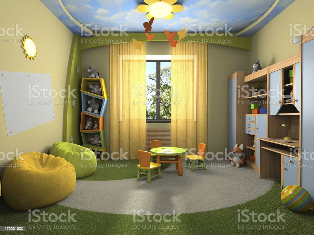Miraculous Childs Colorful Playroom With Chairs Desk And Bean Bags Pabps2019 Chair Design Images Pabps2019Com