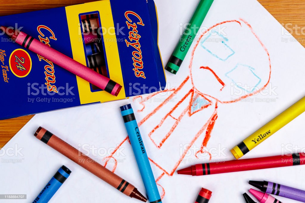 A Child\'s Crayon Drawing of a person with Generic Crayons and a...