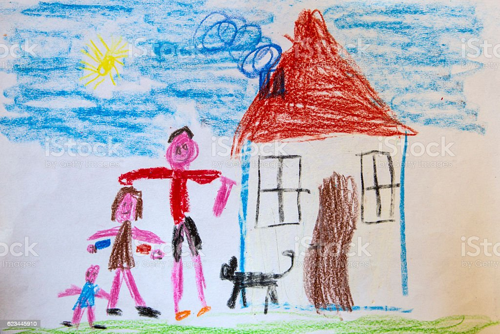Child's drawing, happy family stock photo