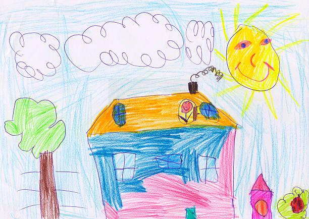 casa de desenho de criança - cachorro desenho - fotografias e filmes do acervo