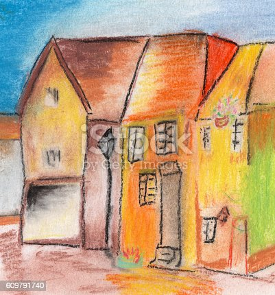 istock child's drawing house in the village 609791740