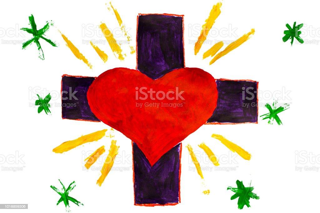 Dibujo De Niño Me Encanta La Escritura Del Texto De Jesús En