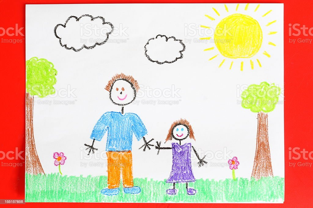 Childs drawing of a father and daughter holding hands stock photo