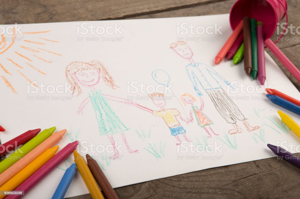 Child\'s drawing of a happy family