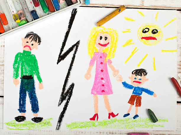 a child's drawing of a marriage break up - sad cartoon images stock photos and pictures