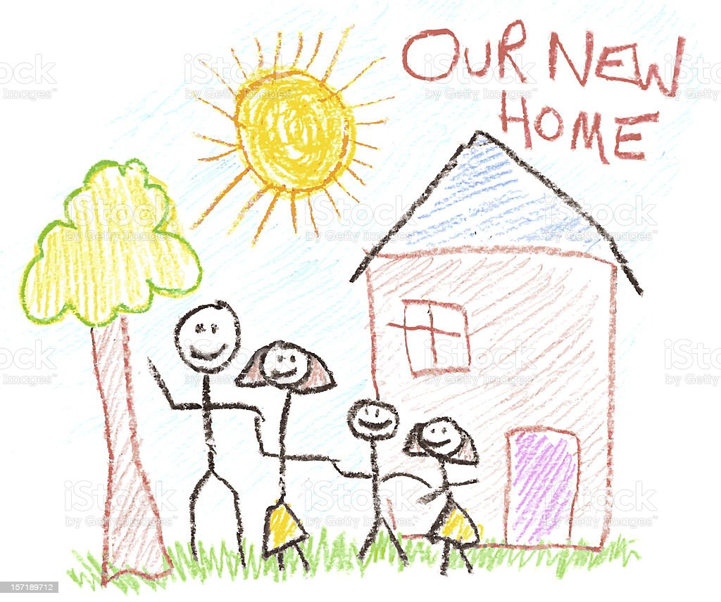 Child's Drawing of Family and New Home in Crayon stock photo