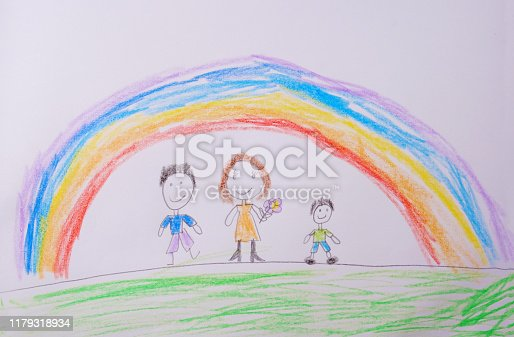 Child's Drawing of happy family under the rainbow. What a children's picture can tell