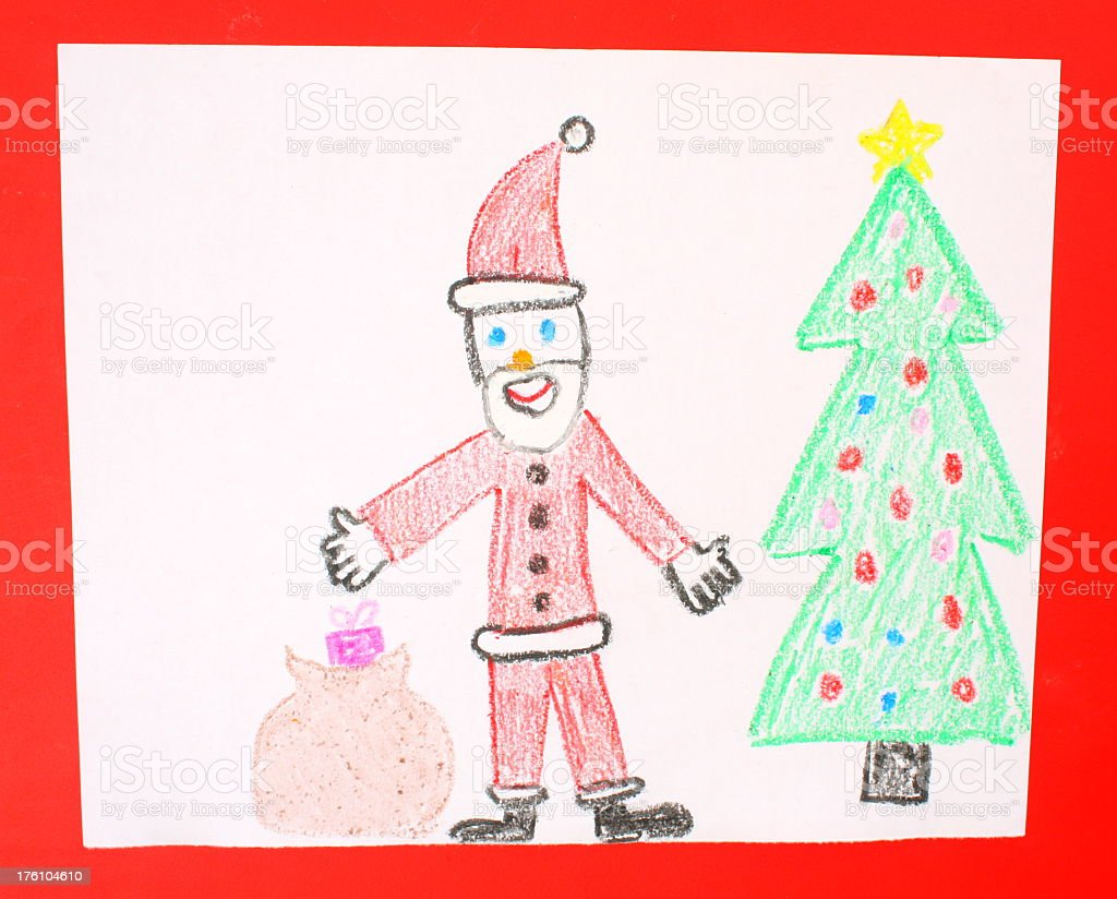 a childs drawing of santa claus next to a christmas tree stock photo download image now istock https www istockphoto com photo a childs drawing of santa claus next to a christmas tree gm176104610 10495734