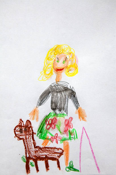 child's drawing of  woman with a dog - cachorro desenho - fotografias e filmes do acervo