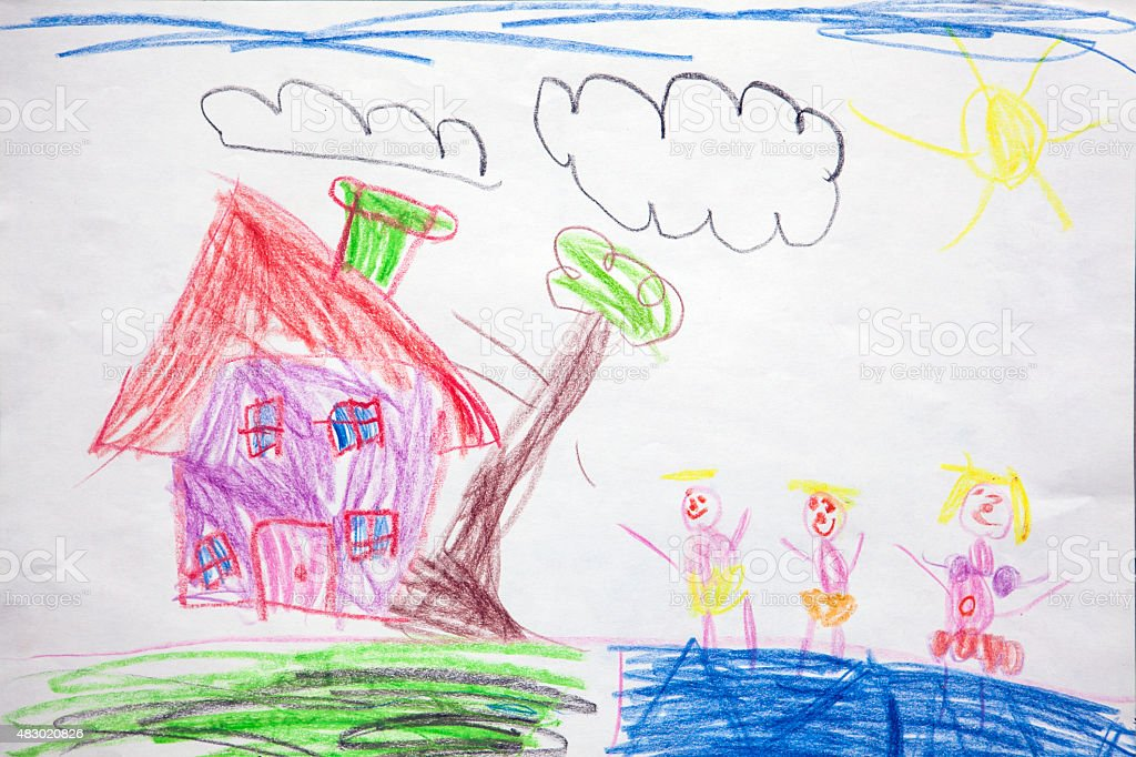 Child's drawing - our house stock photo
