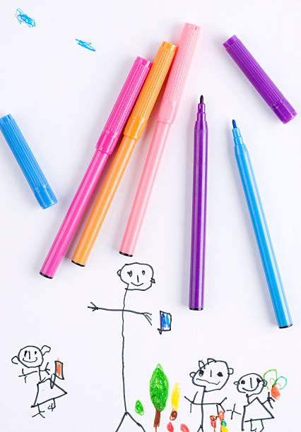 Child's drawing stock photo