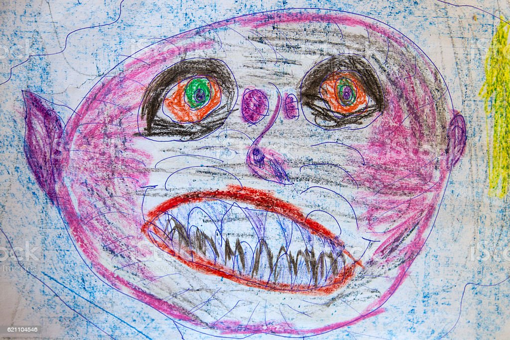 Line Drawing Of Child S Face : Childs drawing scary man stock photo more pictures of baby istock