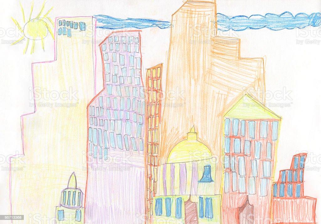Rysunek dziecka Wieżowiec city – zdjęcie