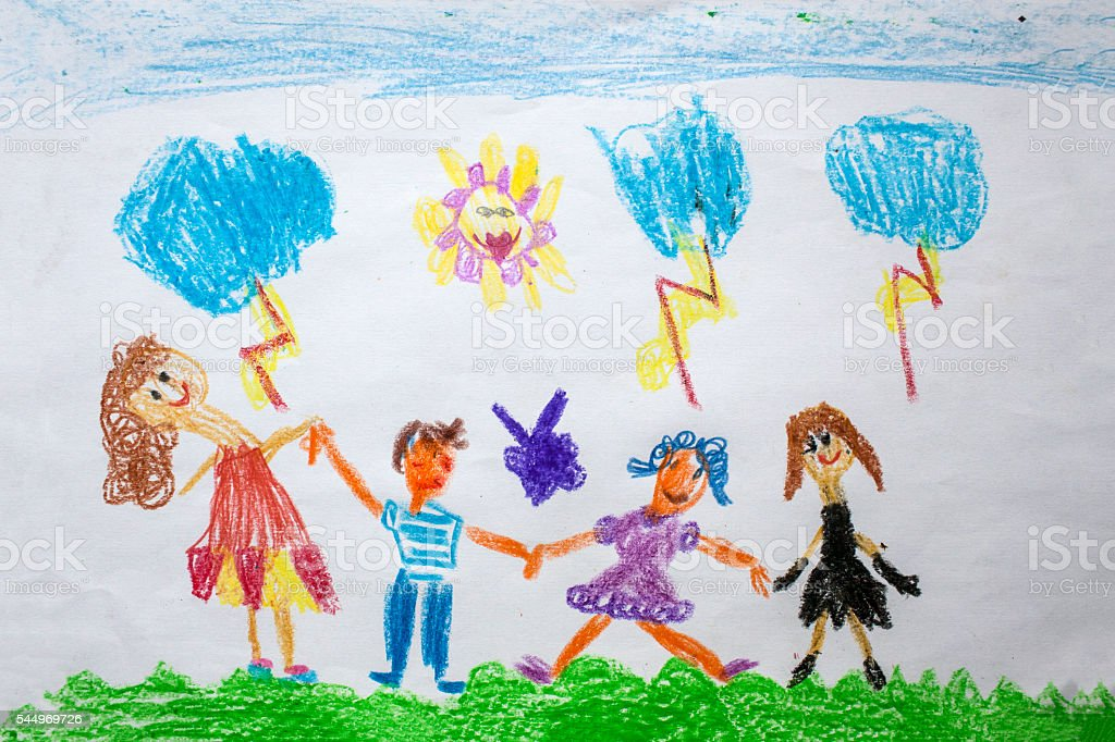 Child's drawing - storm stock photo