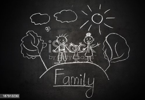 istock child's drawing with chalk on  school blackboard happy family 187913230