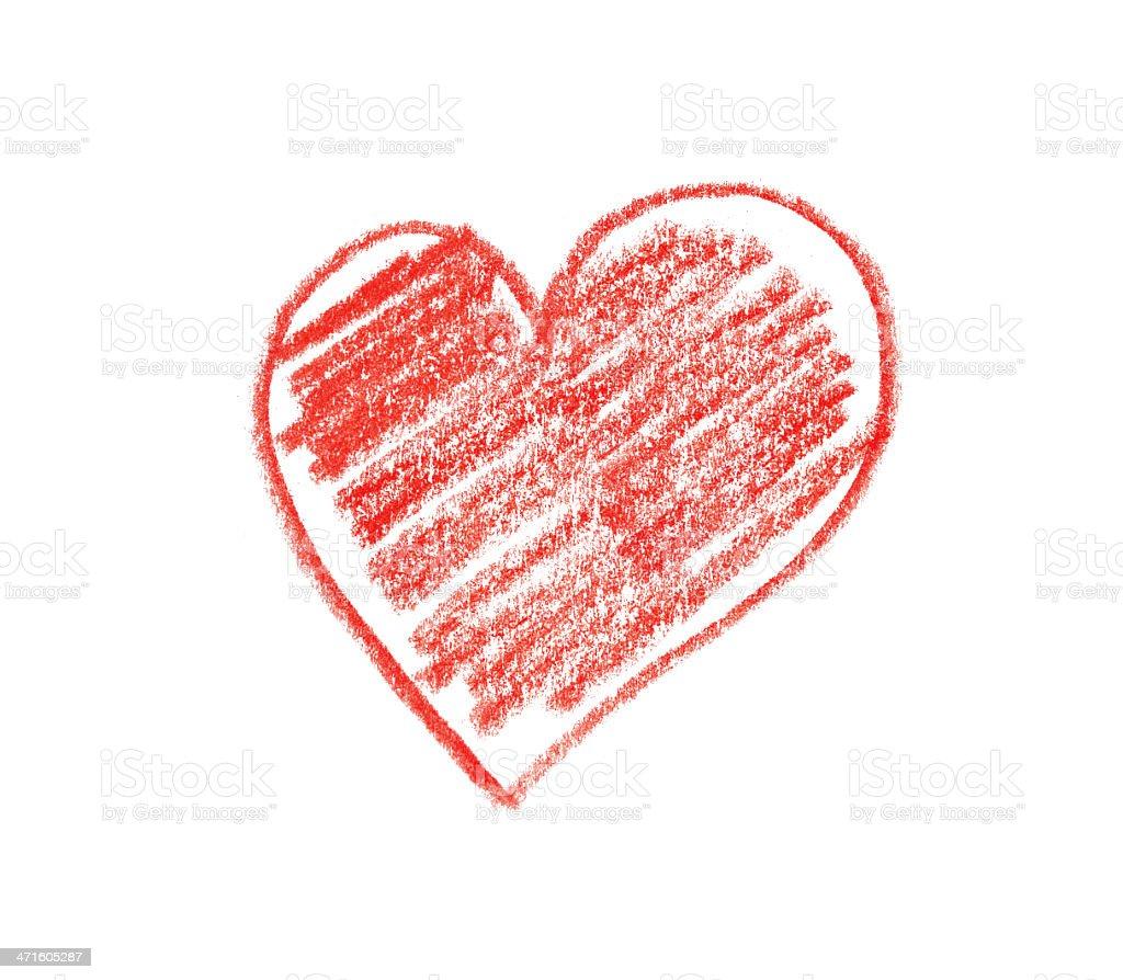 Child's drawn heart shape stock photo