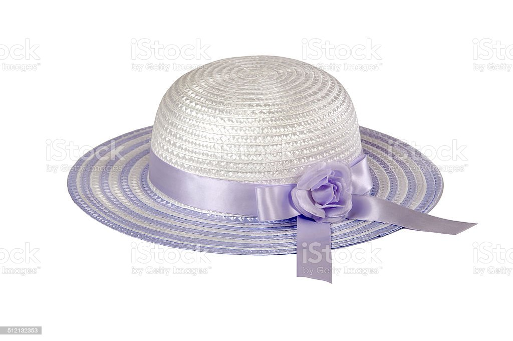 Childs Easter hat in orchid stock photo