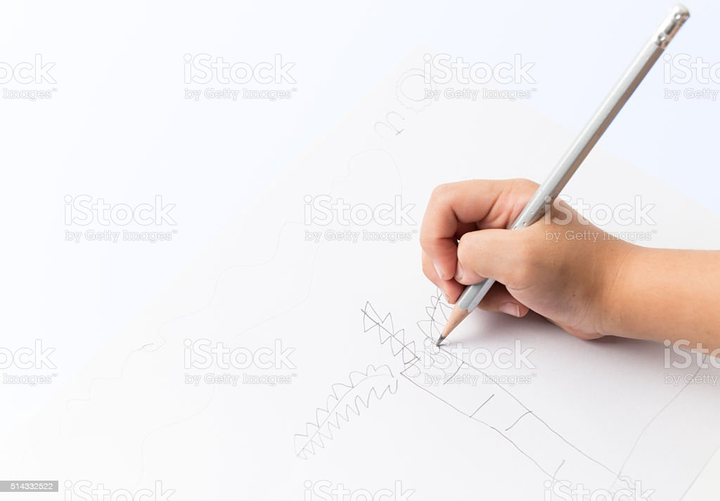 Child's hand drawing coconut tree. stock photo