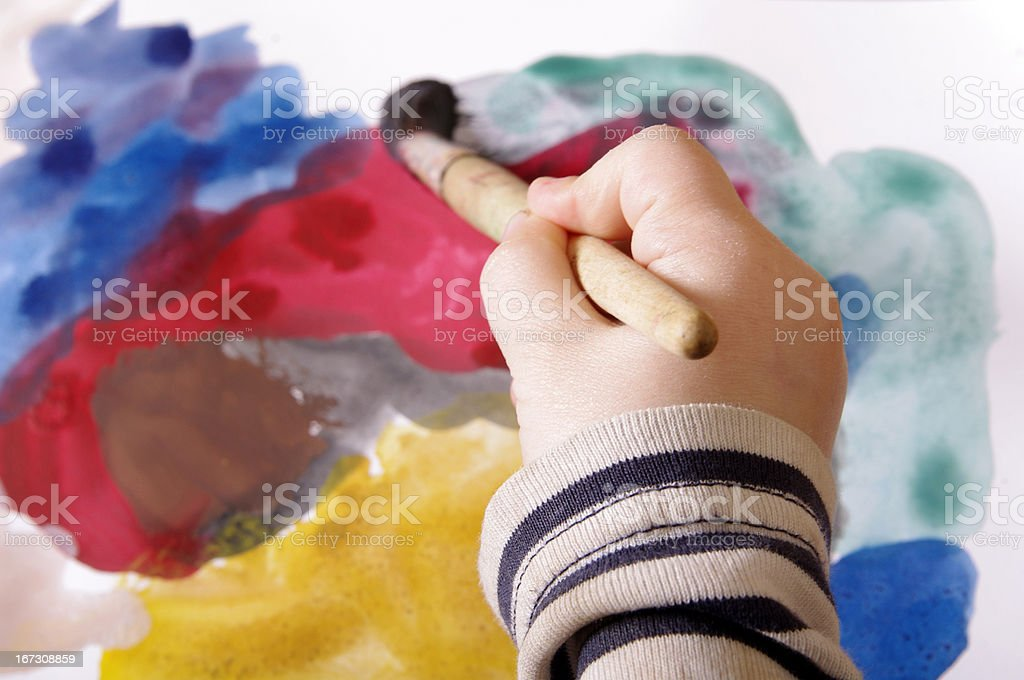 child's hand painting onthe papper royalty-free stock photo