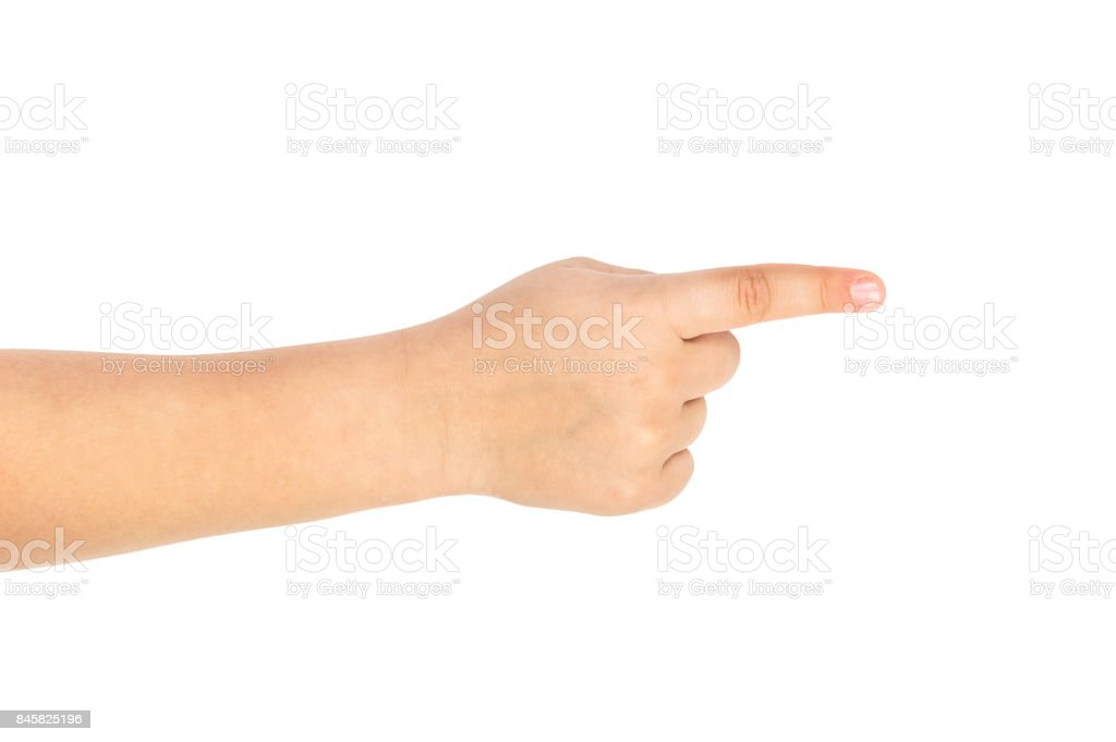 Childs Hand Pointing To Something Isolated On White Stock Photo ...