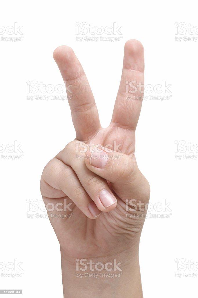 Kind hand zwei Finger zeigen Lizenzfreies stock-foto