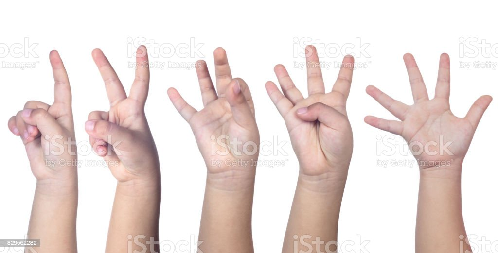 Child's hands counting from one to five stock photo