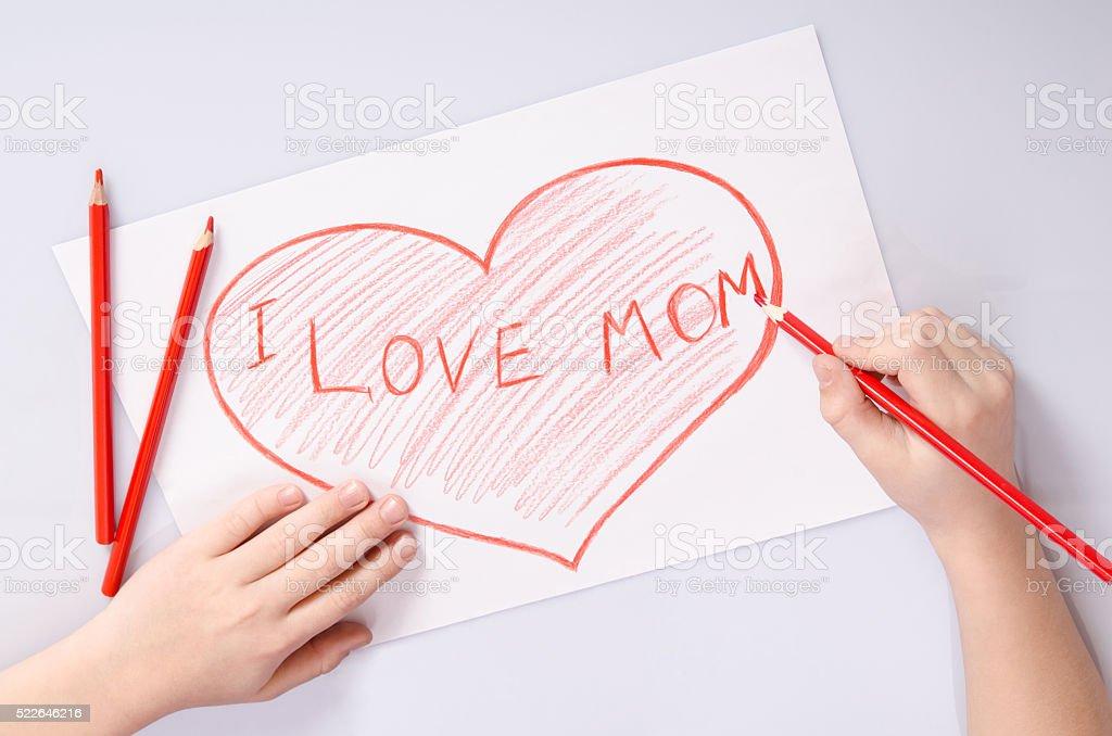 Kinder Hande Zeichnen Ein Herz Sagt Ich Liebe Mama Stock Fotografie