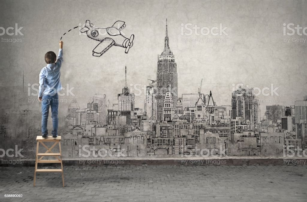 Child's imagination stock photo