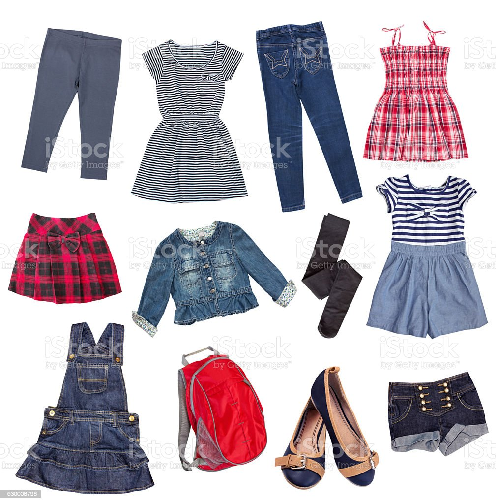 Childs jean cotton clothes collage isolated. stock photo