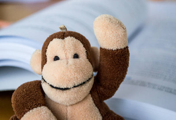 Child's Monkey Toy Raising Hand/Asking a Question Book Background stock photo