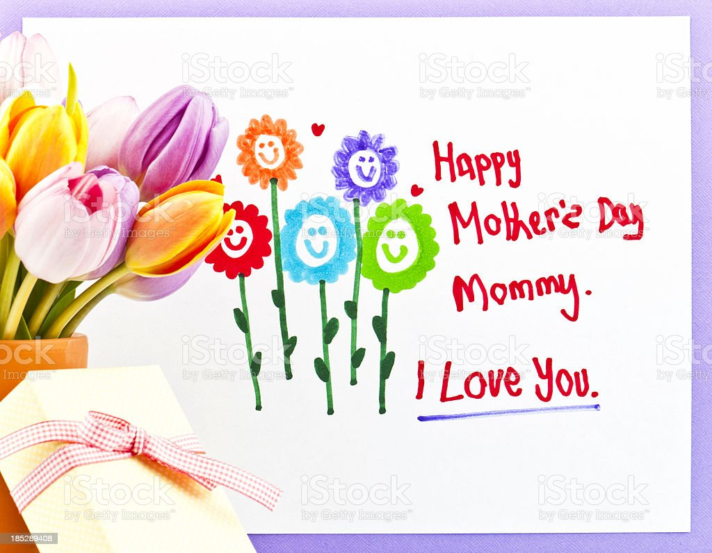 Child's Mother's Day Drawing with Flowers and Gift royalty-free stock photo