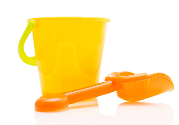 Child's pail and shovel stock photo