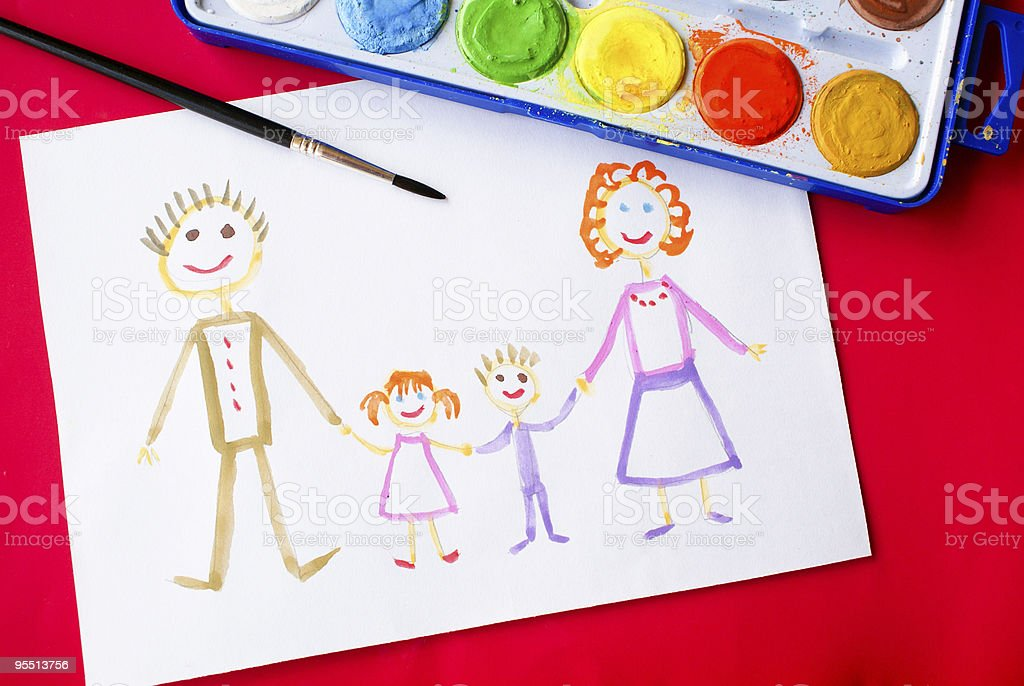 Child's picture of his family royalty-free stock photo