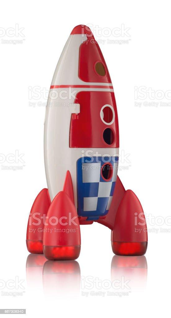 Childs plastic rocket isolated on white background stock photo