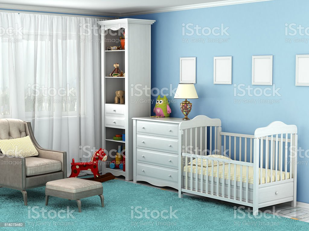 Child's room, where there is a chair, toys, furniture, flooring, stock photo