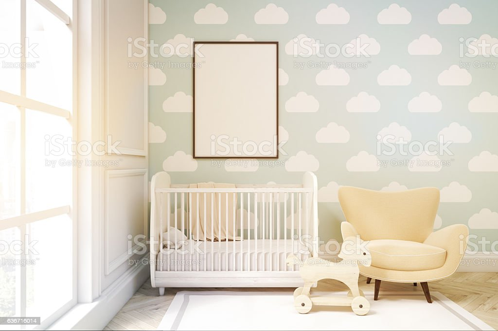 child's room with cloud wallpaper on blue wall, to stock photo