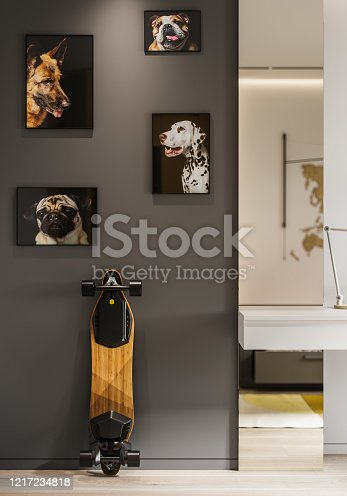 Computer generated image of grey wall with dog paintings and a skateboard. Interior of a child's room with pictures of dog and a long skateboard.