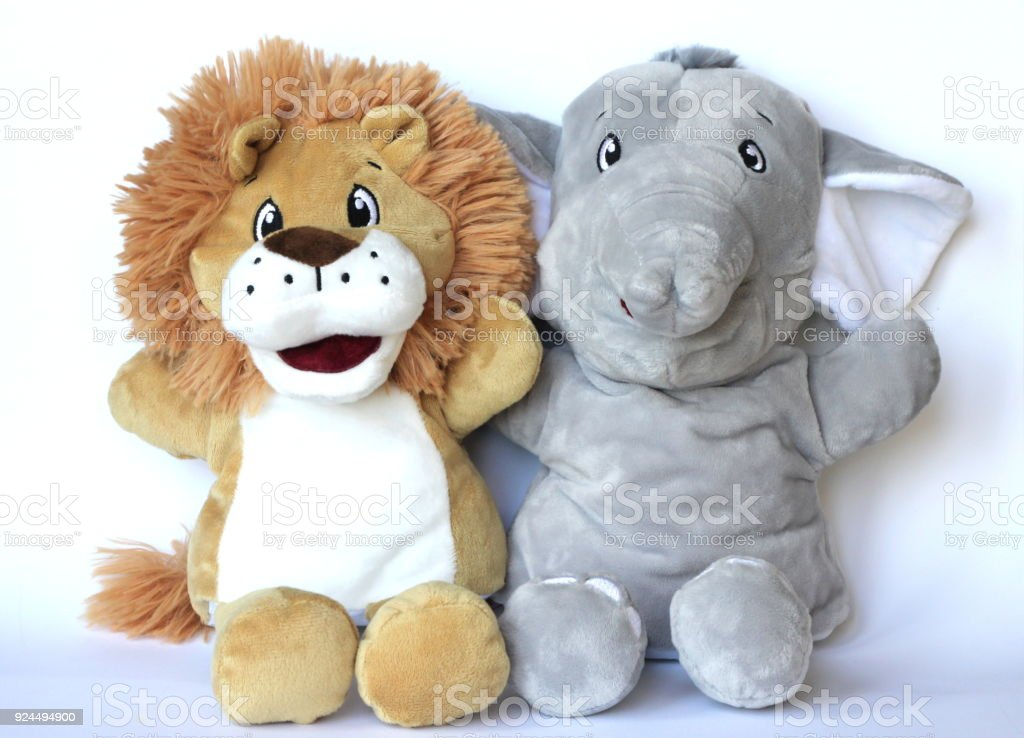 Childs Soft Toy Plush Lion And Elephant Puppet Toy Stock Photo