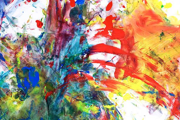 kindes tempera farbe auf papier - fingerfarben stock-fotos und bilder